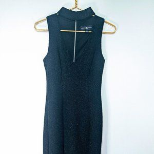 Betsy & Adam Black Formal Floor Length Crepe Dress